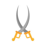 Pirate saber crossed steel cutlass. Illustration eps 10 Stock Images