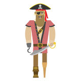 Pirate with saber on isolated white background. Vector illustration Royalty Free Stock Photos