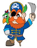 Pirate with sabre and parrot Royalty Free Stock Image