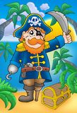 Pirate with sabre and treasure chest. Color illustration Royalty Free Stock Images