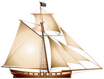 Pirate Sailboat, Cutter Stock Image