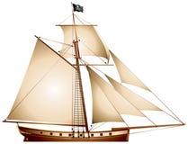Pirate Sailboat, Cutter stock illustration