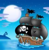 Pirate sailboat with Moon Stock Photos