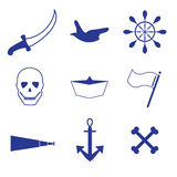 Pirate, sailing icons. Pirate icon blue, yachting Royalty Free Illustration