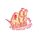Pirate Sailing Ship Galleon Mono Line. Mono line style illustration of a pirate sailing ship galleon viewed from front set on isolated white background vector illustration