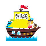 Pirate sailing vessel vector icon Stock Image