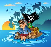 Pirate sailing on wooden raft. Illustration Stock Image
