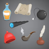 Pirate, sailor equipment vector icon set. Royalty Free Stock Photo