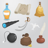 Pirate, sailor equipment vector icon set. Stock Images