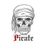 Pirate sailor skull in bandana sketch symbol Stock Photo