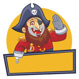 Pirate salute with blank sign Royalty Free Stock Photo