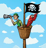 Pirate Scout. Cartoon Pirate Scout with parrot on the lookout.  Part of a series Stock Photography