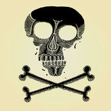 Pirate scull black woodcut Stock Images