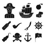 Pirate, sea robber black icons in set collection for design. Treasures, attributes vector symbol stock web illustration. Pirate, sea robber black icons in set Stock Photo