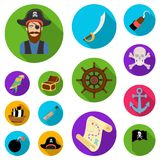 Pirate, sea robber flat icons in set collection for design. Treasures, attributes vector symbol stock web illustration. Pirate, sea robber flat icons in set Royalty Free Stock Images