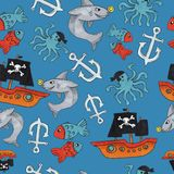 Pirate seamless pattern. colorful objects repeating background for web and print purpose. vector illustration