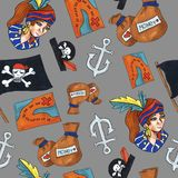 Pirate seamless pattern. colorful objects repeating background for web and print purpose. stock illustration