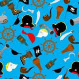 Pirate seamless pattern. piratical accessory ornament. buccaneer. Background. Vector Illustration Stock Image
