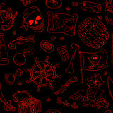 Pirate seamless pattern red on black Stock Image
