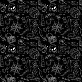 Pirate seamless pattern white on black Royalty Free Stock Images
