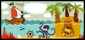 Pirate. In search of treasure stock illustration