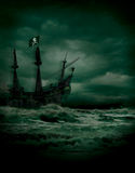 Pirate Seas. Nighttime pirate voyage on stormy seas Royalty Free Stock Photo