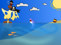 Pirate Seeking Treasure. A Pirate after a treasure with a shark in between Royalty Free Stock Photography