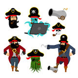 Pirate set characters. Web pirate octopus. buccaneer with cannon Stock Images