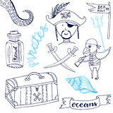 Pirate set with cute parrot. Hand drawn cartoon collection. Doodle vector illustrations. Stock Photography