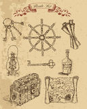 Pirate set with engraved objects on old paper background Royalty Free Stock Image