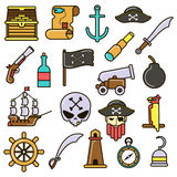 Pirate set. Flat vector icons. Pirate icons set: treasure chest and map, ship, anchor and hat, rum, flag and parrot, weapon, skull and bomb. Collection flat Stock Photo