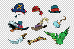 Pirate set of knives and hats. Pop art retro illustration. Parrot Royalty Free Stock Photo
