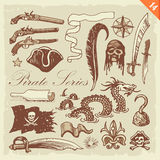 Pirate set. Layered vector set featuring hand drawn pirate-related illustrations Royalty Free Stock Image