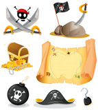 Pirate set with map and weapons Stock Photography
