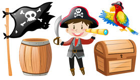 Pirate set with pirate and parrot. Illustration Stock Images