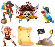 Pirate set with pirates and other symbol Royalty Free Stock Photo