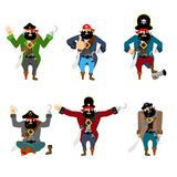 Pirate set poses and motion. filibuster happy and yoga.  buccane Stock Photo