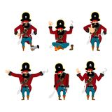 Pirate set poses and motion. filibuster happy and yoga.  buccane Royalty Free Stock Photography