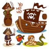 Pirate set. Ship. Mermaid Stock Photo
