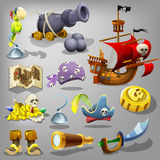 Pirate set. Vector illustration. Royalty Free Stock Images