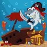 Pirate shark. Captain - vector illustration stock illustration