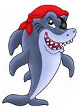 Pirate shark. Illustration of pirate shark with eye-patch and red cap royalty free illustration