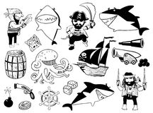 Pirate and shark characters and nautical objects Royalty Free Stock Images