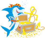 Pirate shark with a treasure chest stock illustration