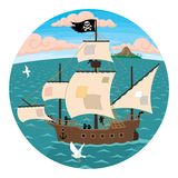 Pirate Ship. A pirate ship, seen through spyglass Stock Images