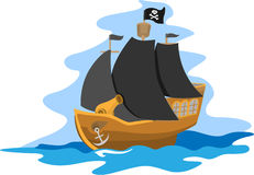 Pirate ship. With cannon and black sails Stock Photo