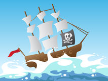 Pirate ship. Cartoon style of pirate ship Royalty Free Stock Photos