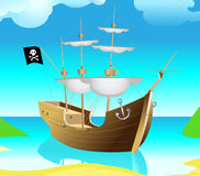 Pirate-ship. Pirate ship in the bay stock illustration
