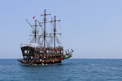 Pirate Ship. In Phaselis bay, Turkey Stock Photo
