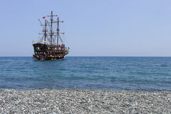 Pirate Ship. In Phaselis bay, Turkey Stock Photography